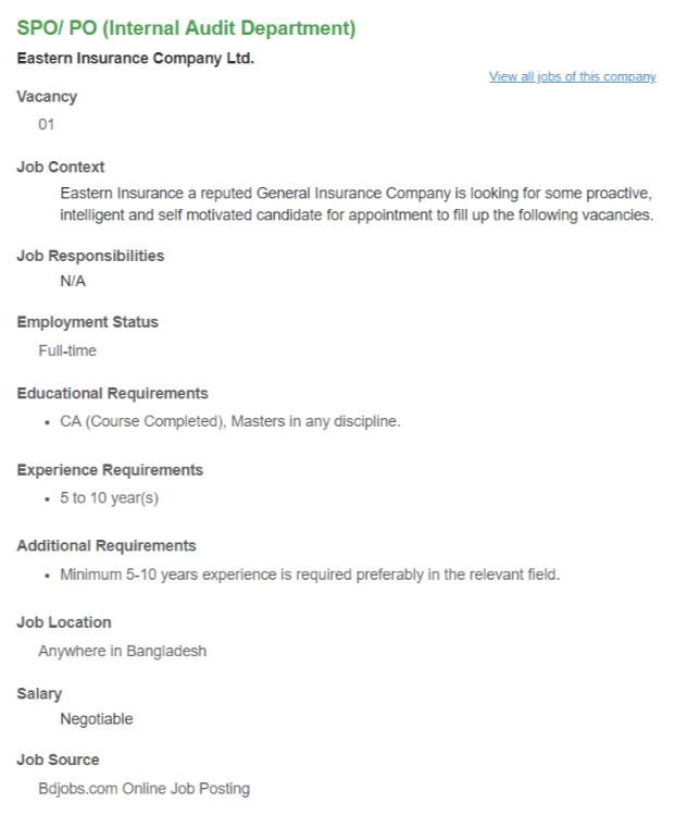 Eastern Insurance Company Ltd Job Circular