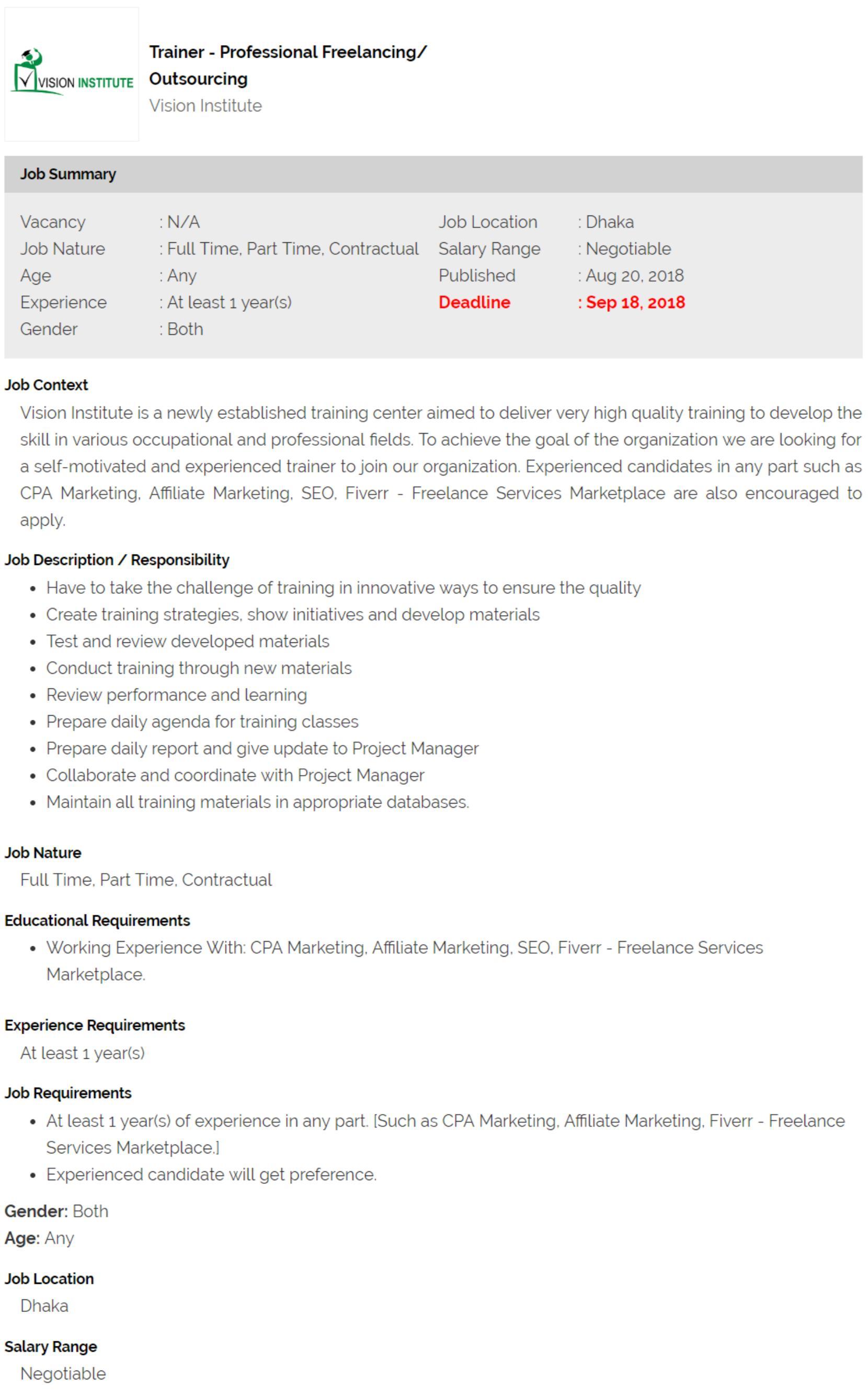 Vision Institute Job Circular