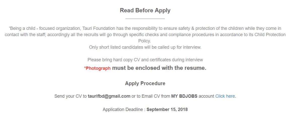 Tauri Foundation Job Circular