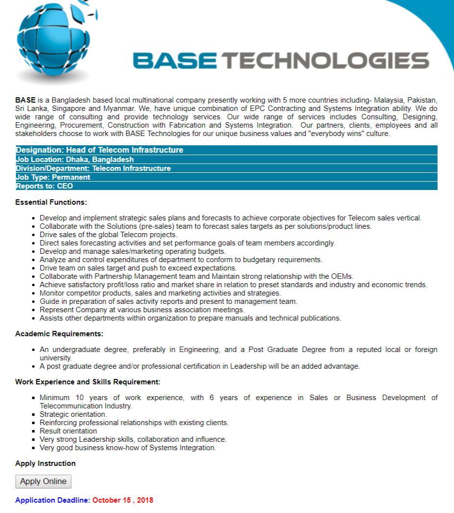 BASE Technologies Job Circular