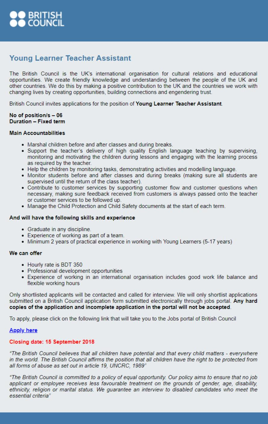 British Council Job Circular