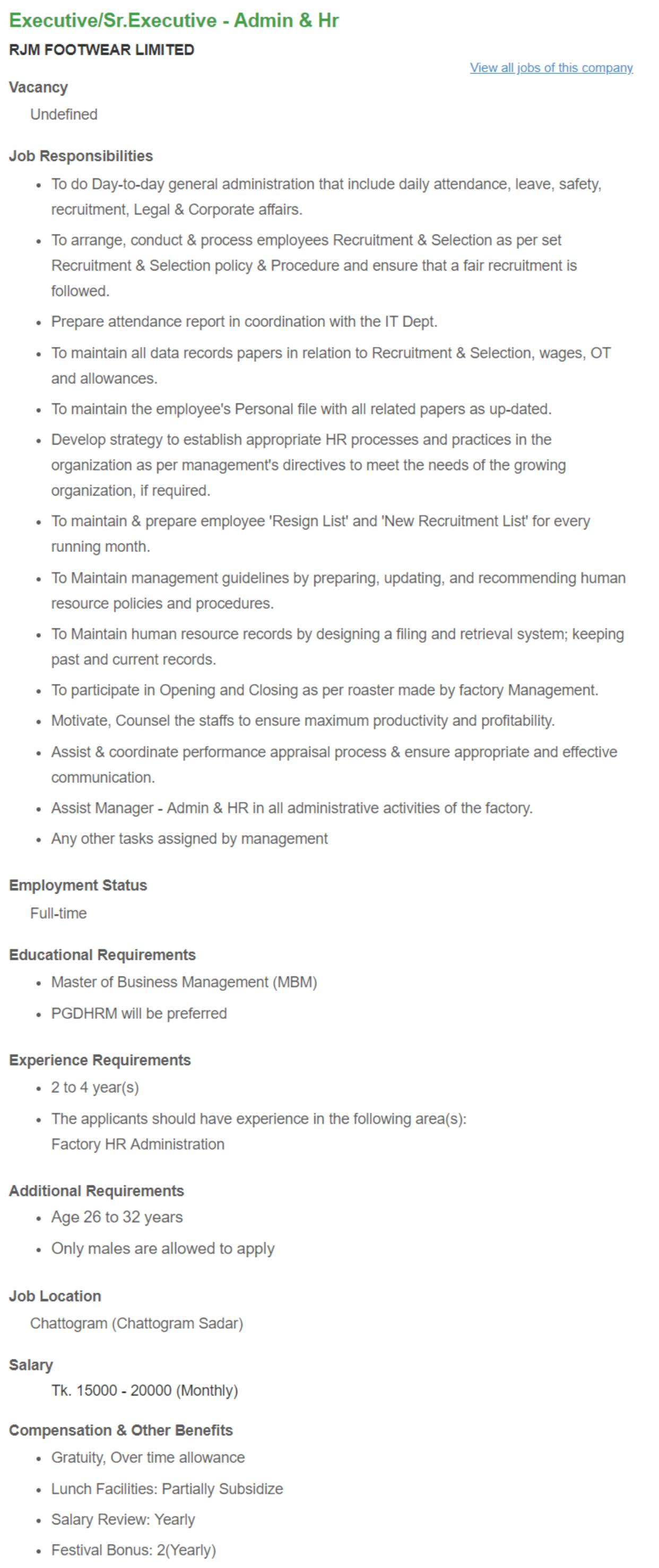 Executive_Sr Executive - Admin & Hr _ RJM FOOTWEAR LIMITED __ Bdjobs.com