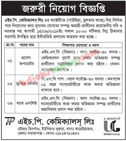 HP Chemicals Limited Job Circular