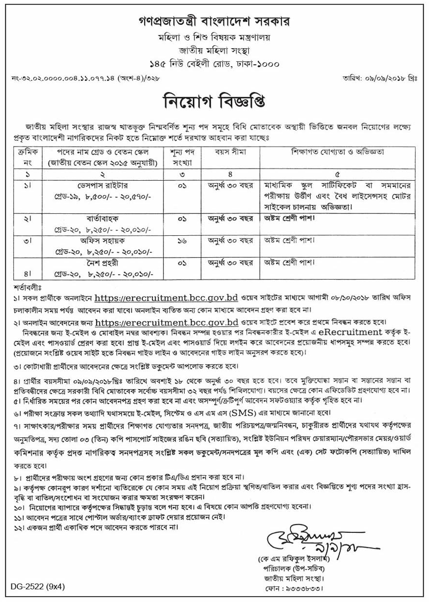 Jatiyo Mohila Sangstha Job Circular