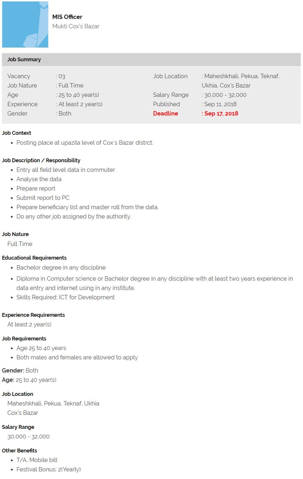 Mukti Cox's Bazar Job Circular Application