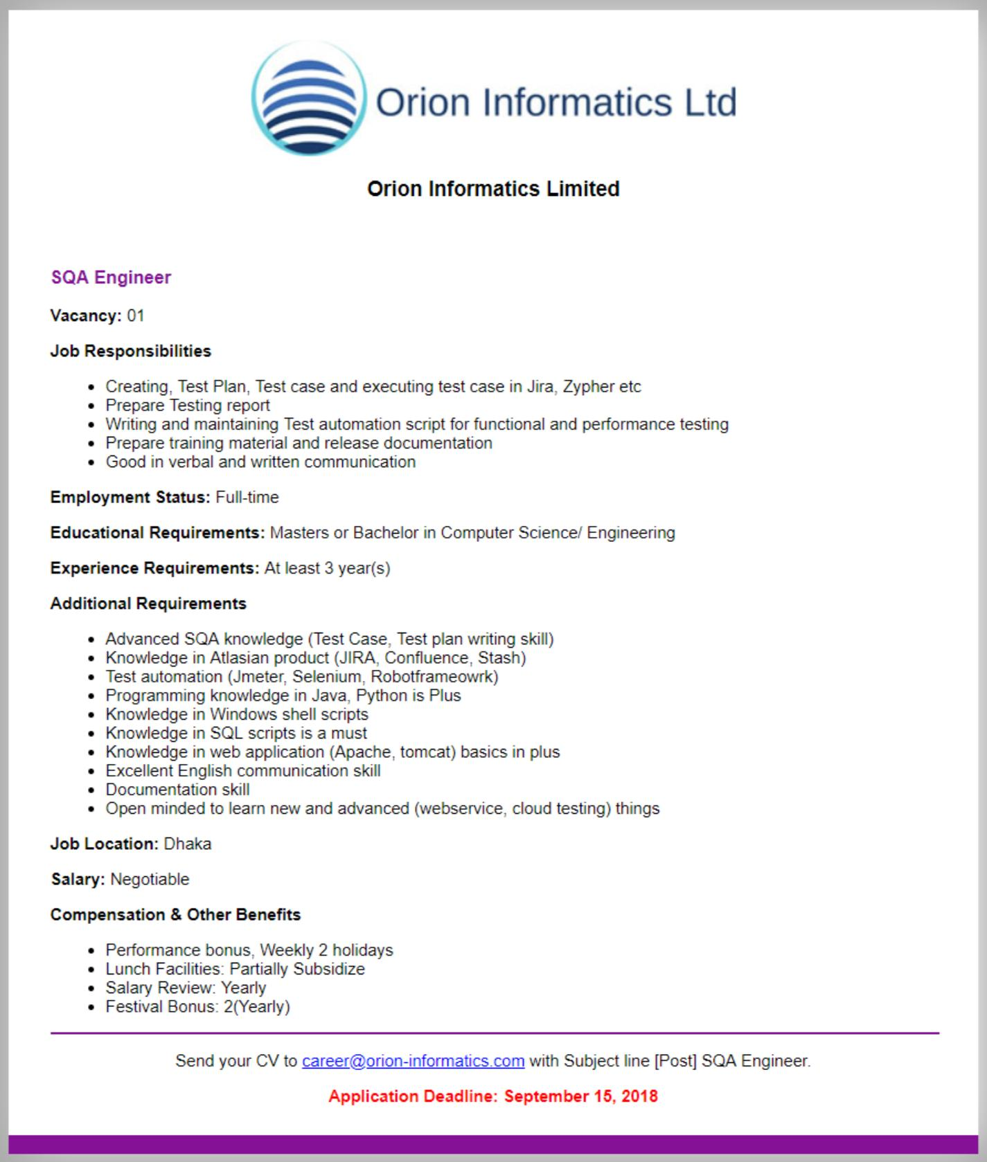 Orion Informatics Job circular 2018
