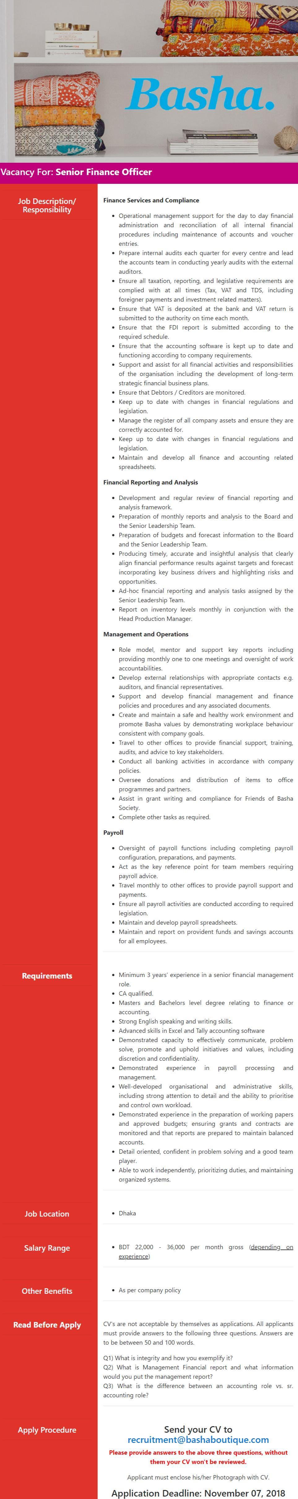 Basha Enterprises Ltd Job Circular