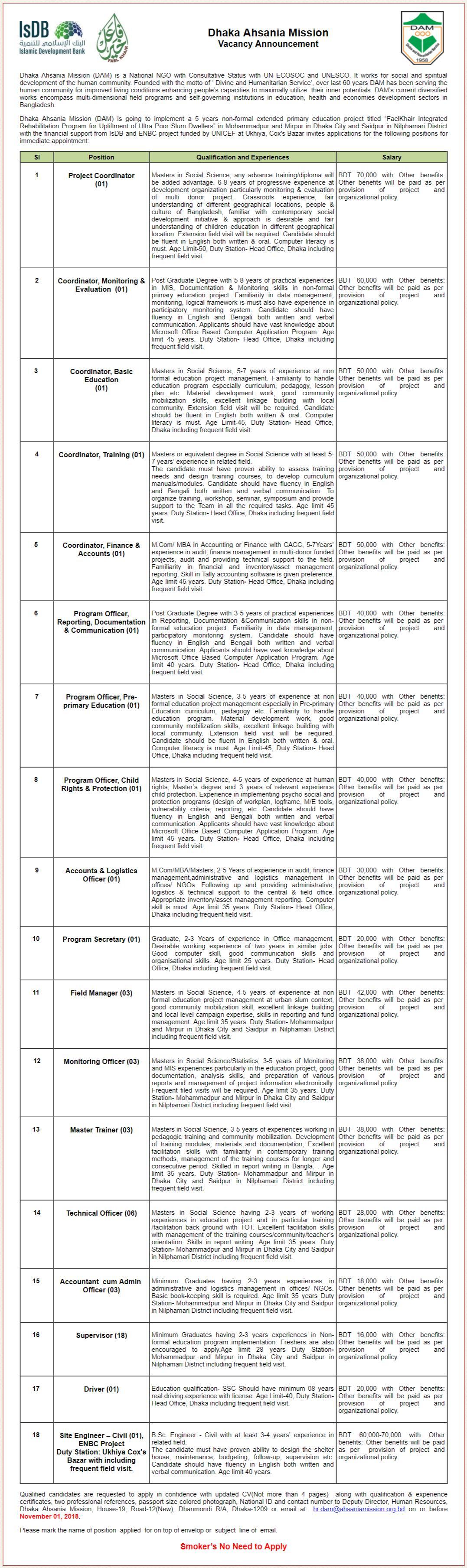 Dhaka Ahsania Mission Job Circular