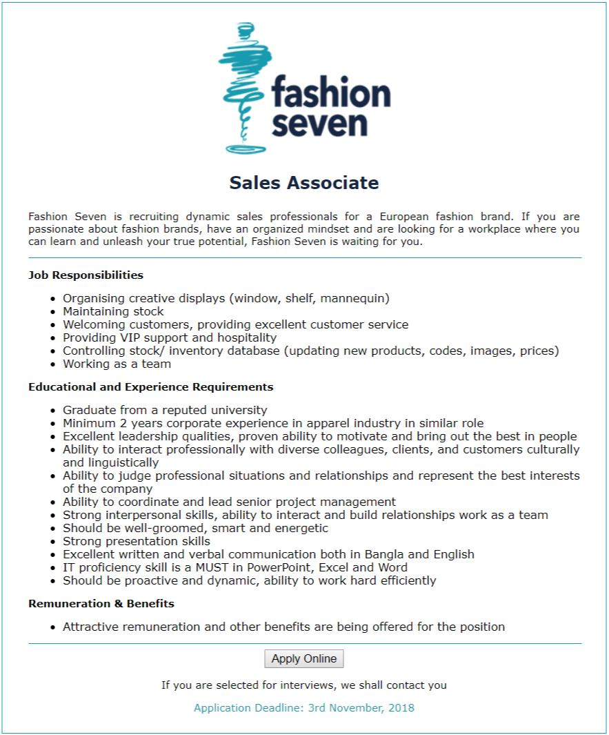 Fashion Seven Job Circular
