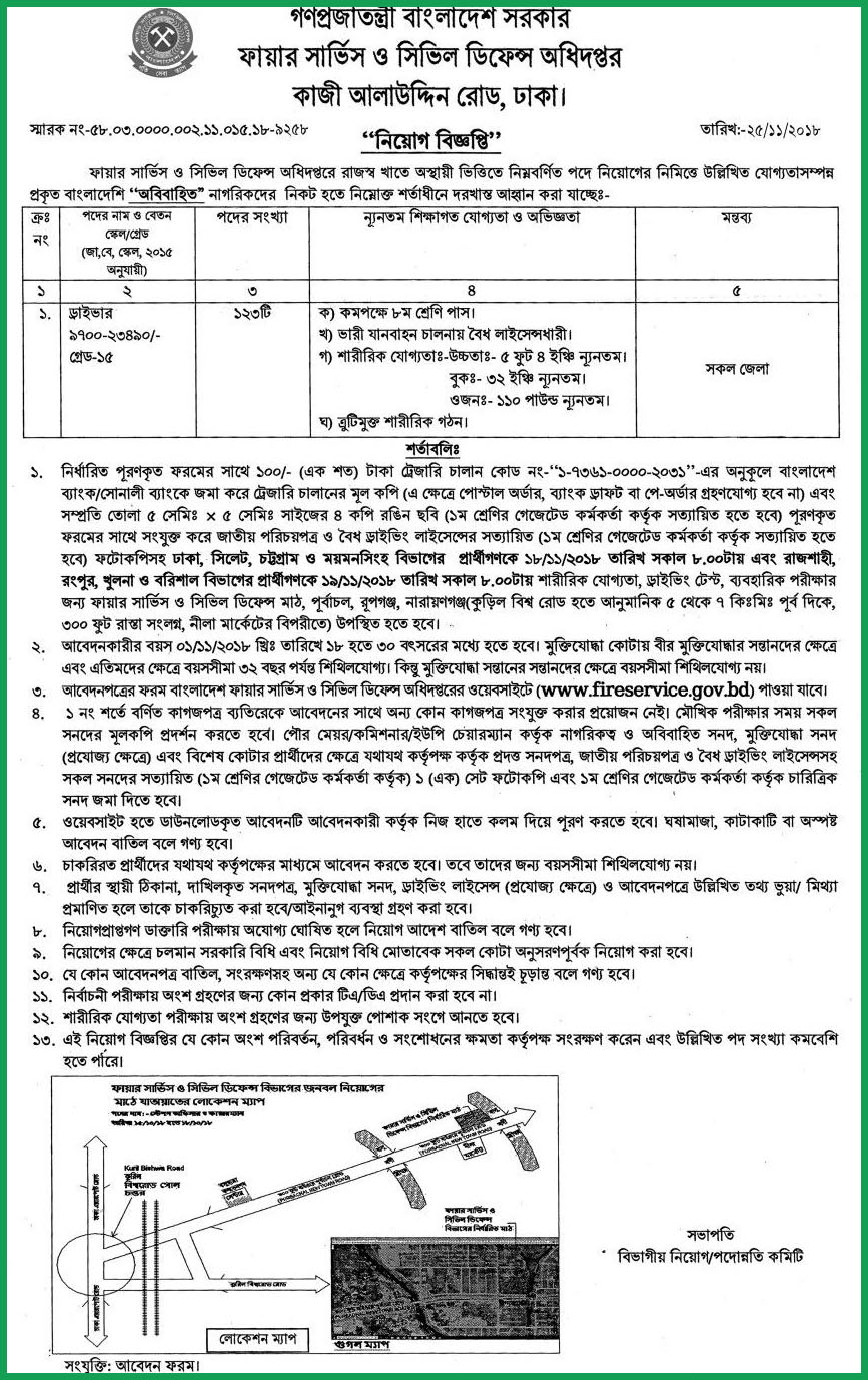Fire Service Job Circular published on some new vacancy post -fireservice.gov.bd