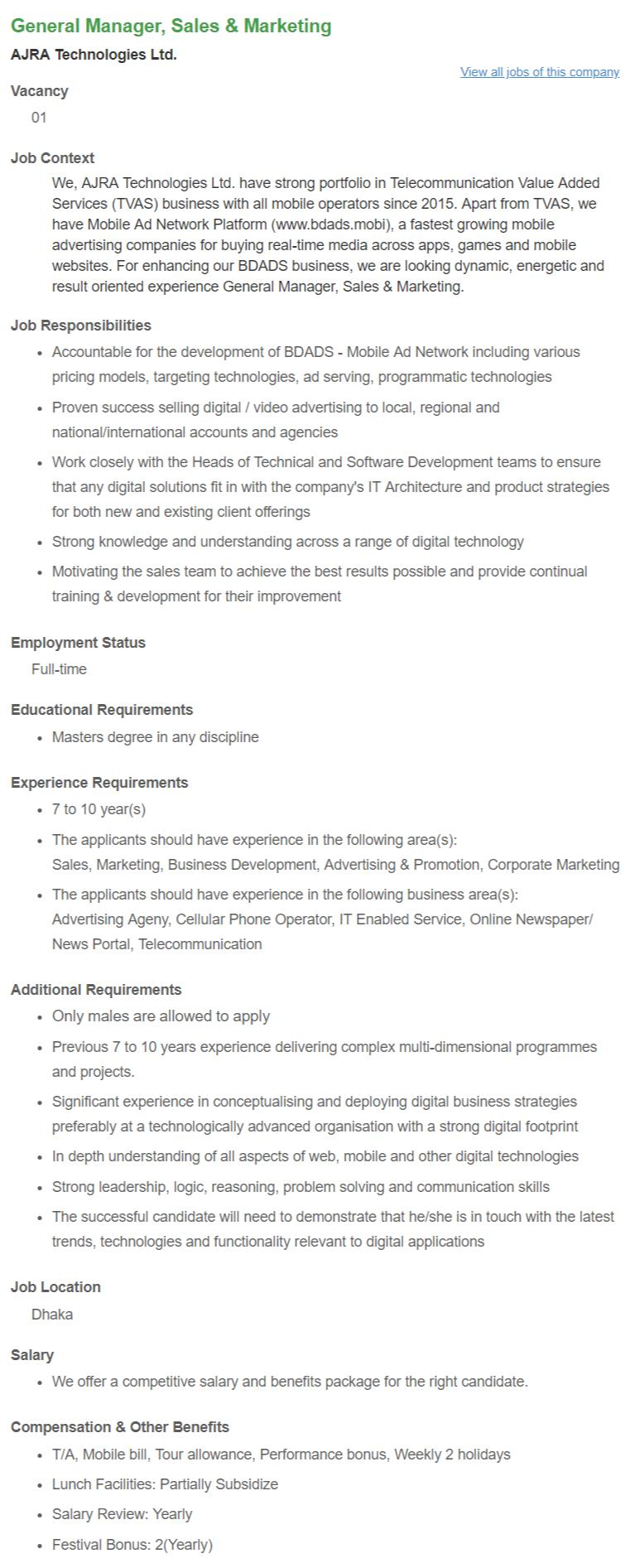 General Manager, Sales & Marketing _ AJRA Technologies Ltd __ Bdjobs.com
