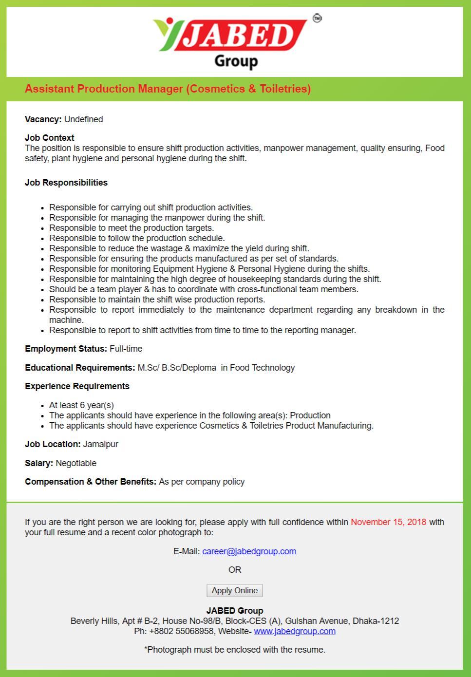Jabed Group Job Circular