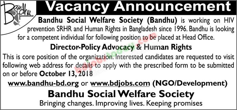 Bandhu Social Welfare Society Job circular