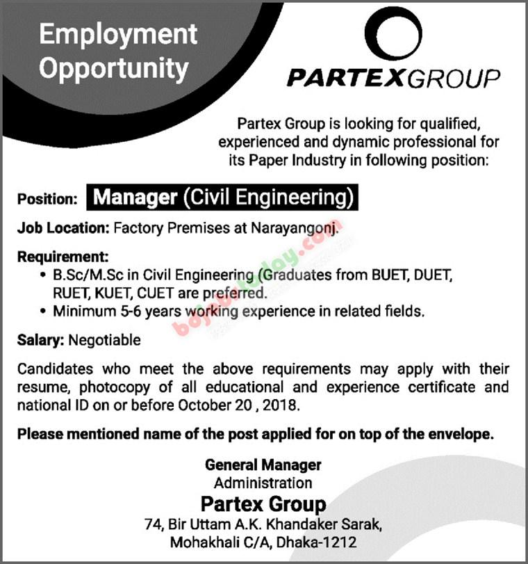 Partex Group Job Circular in Online 2018