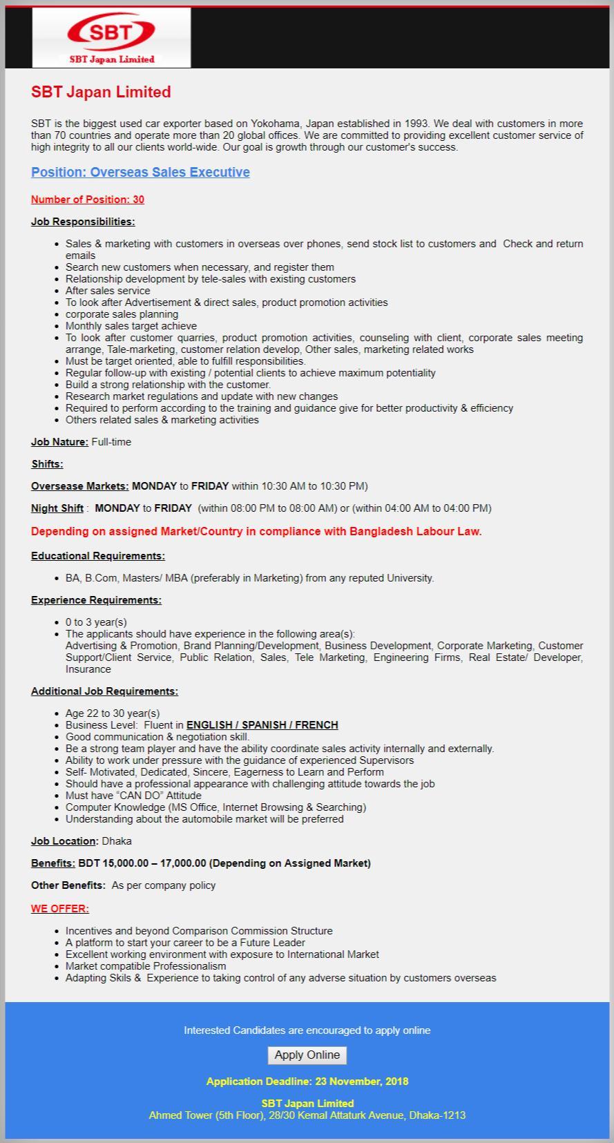 SBT Japan Limited Job Circular 2018