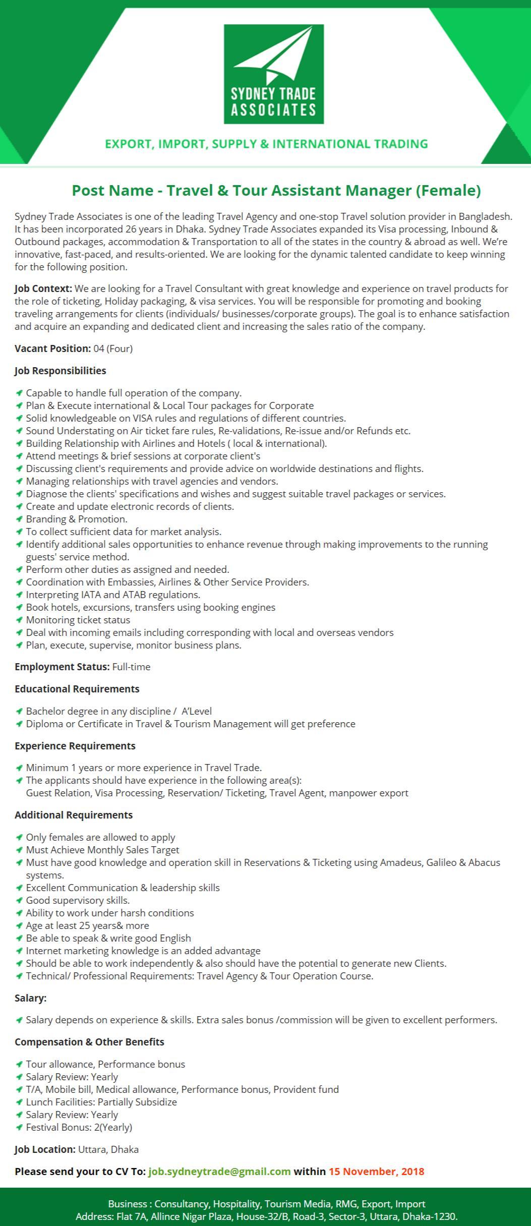 Sydney Trade Associates Job Circular