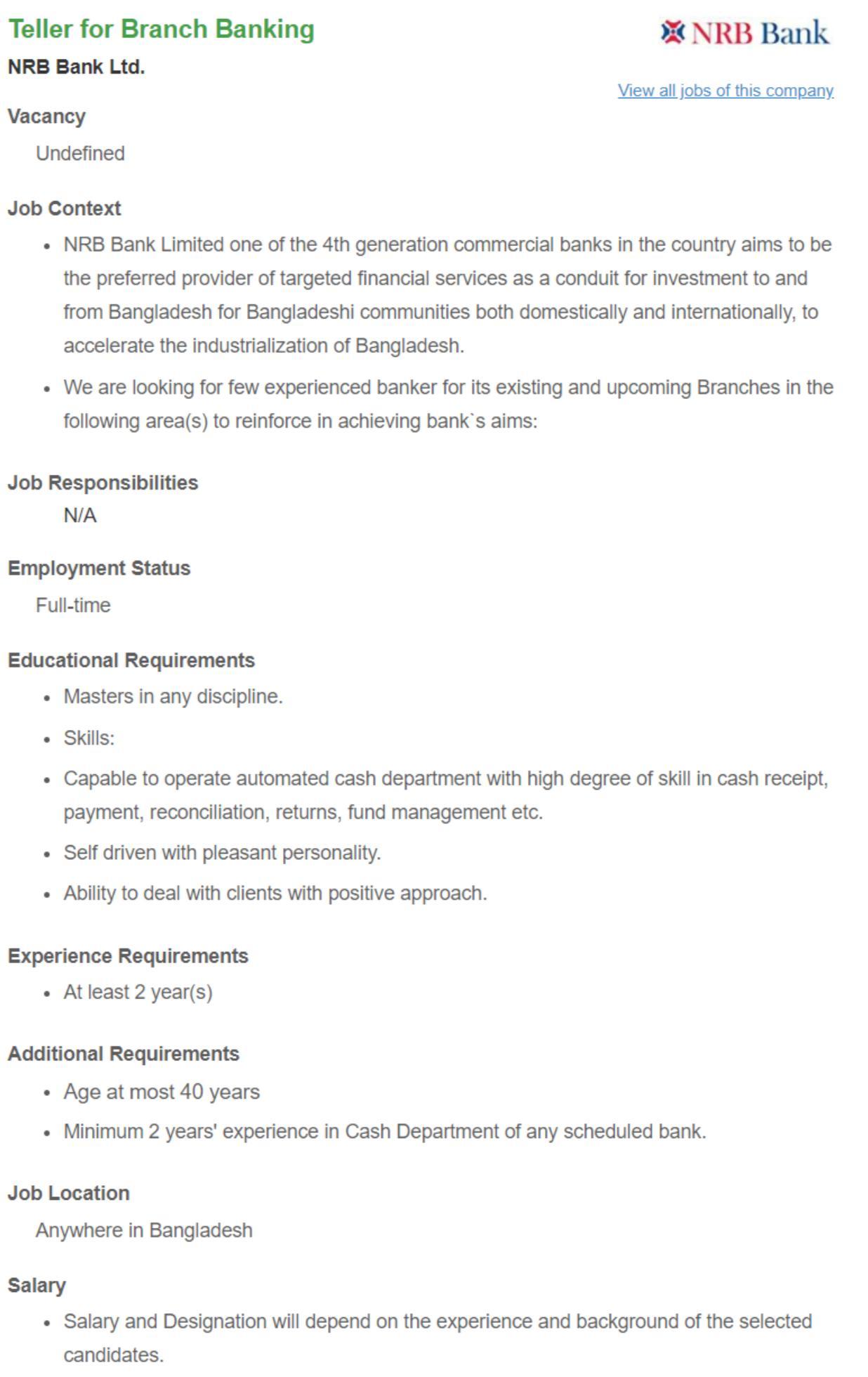 NRB Bank Limited NRB Bank Job Circular