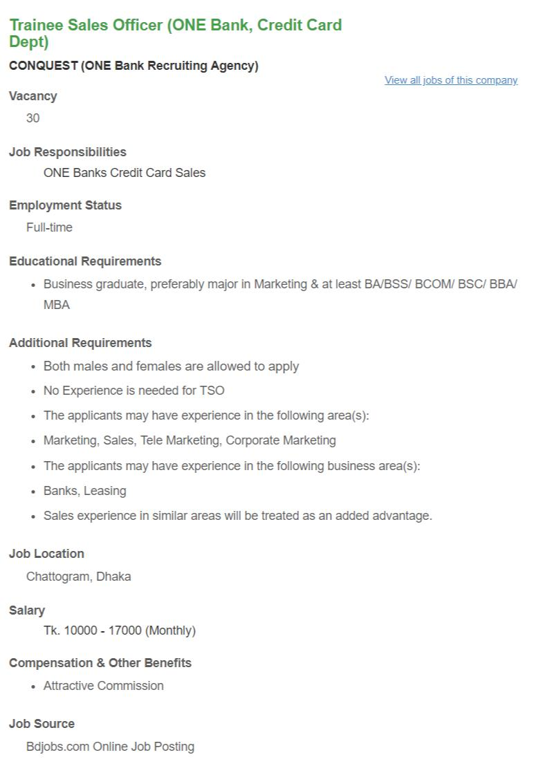 Trainee Sales Officer (ONE Bank, Credit Card Dept) _ CONQUEST (ONE Bank Recruiting Agency) __ Bdjobs com