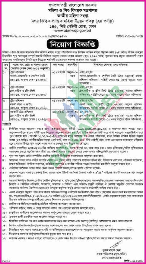 UBMWDP Job Circular- ubmwdp gov bd
