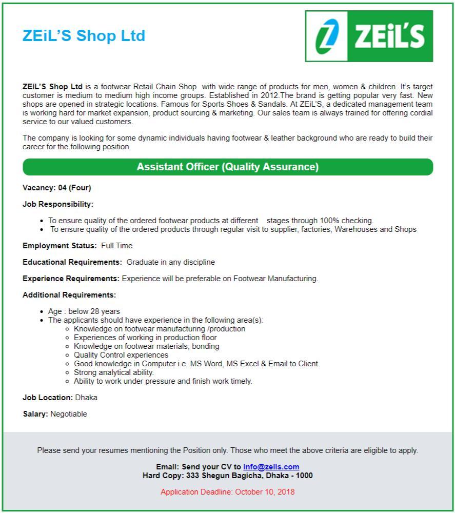ZEiLS Shop Ltd Job Circular