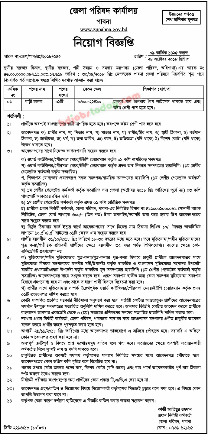 Zilla Parishad Office Job Circular 2018