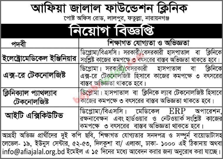 Afia Jalal Foundation Clinic Job Circular