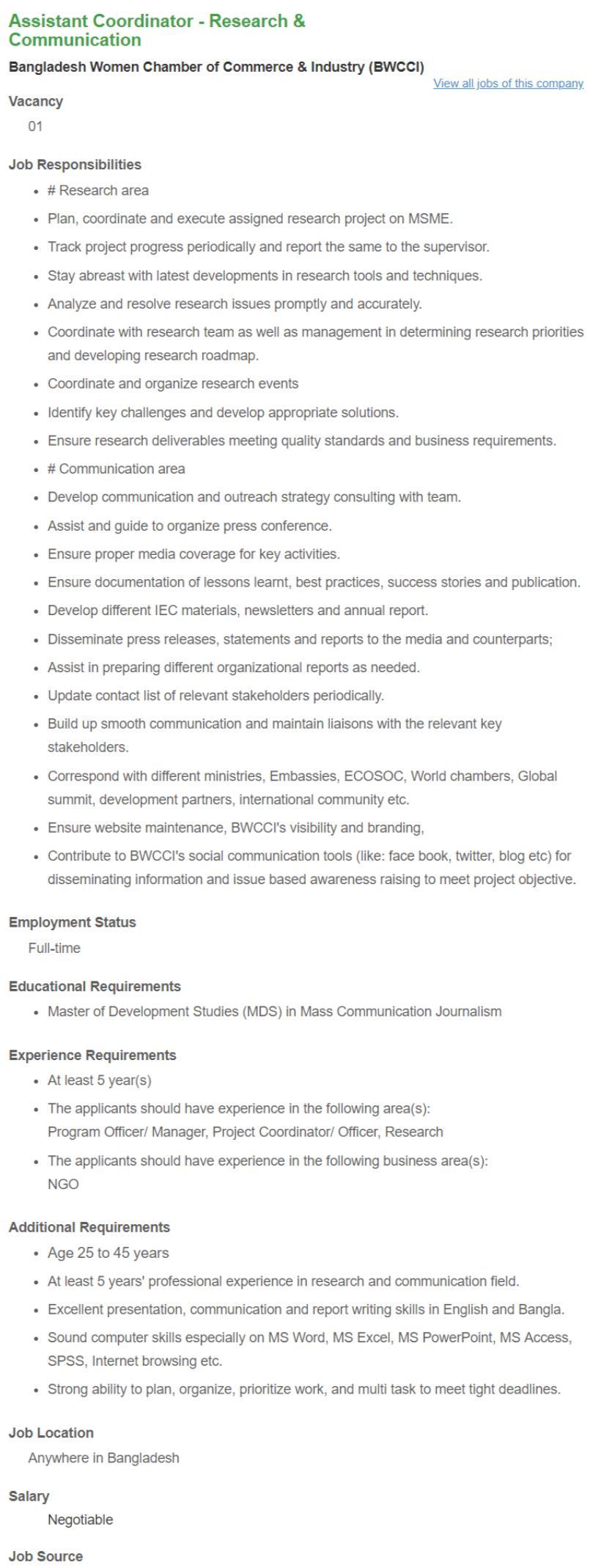 See BWCCI Job Circular