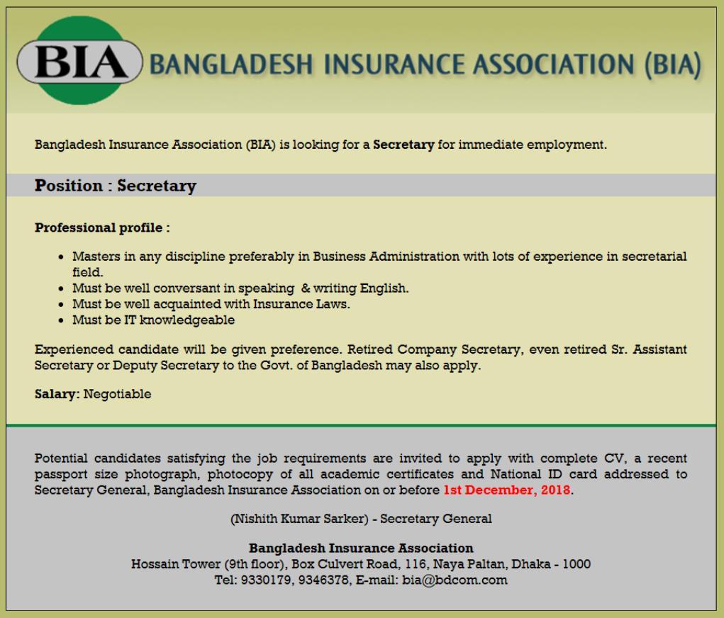 Bangladesh Insurance Association BIA Job Circular