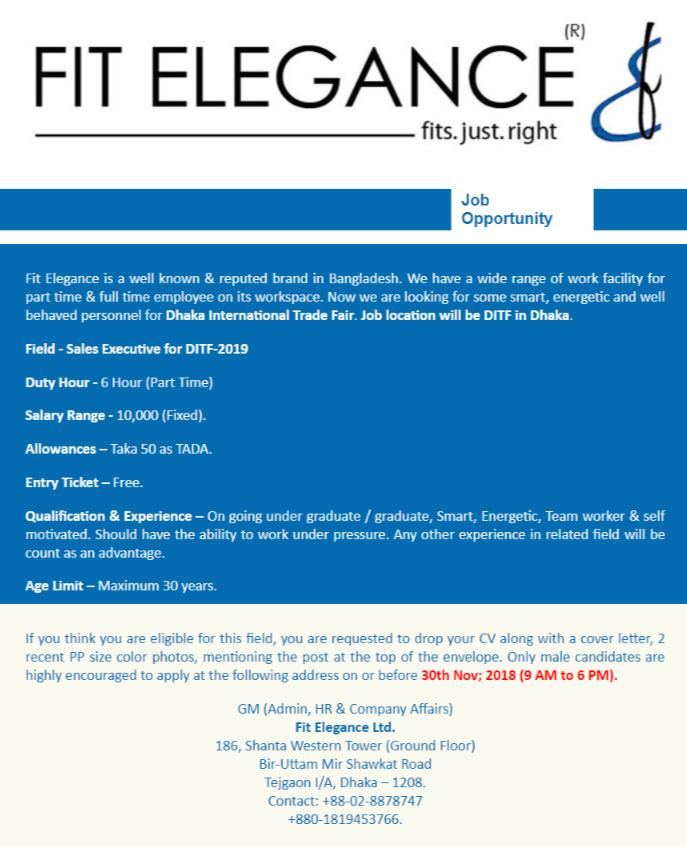Fit Elegance Ltd Job Circular