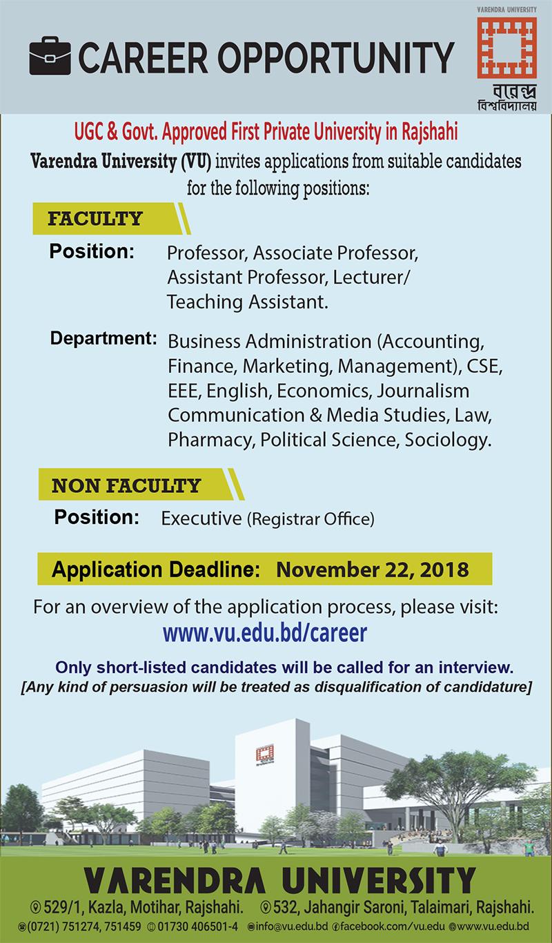 Varendra University Job Circular