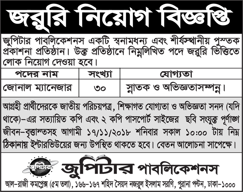 Jupiter Publications job circular