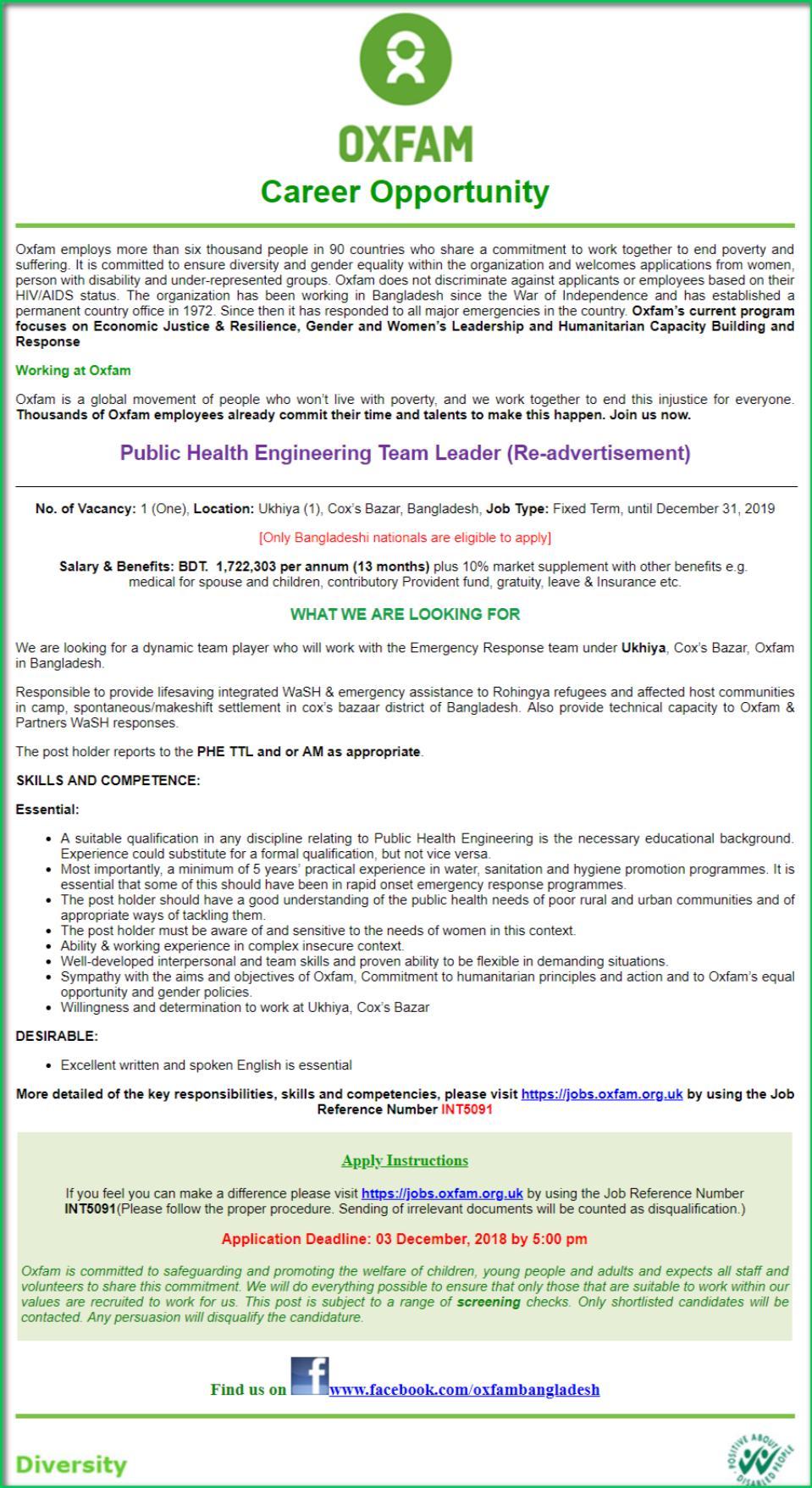 Oxfam Job Circularwww.oxfam.org