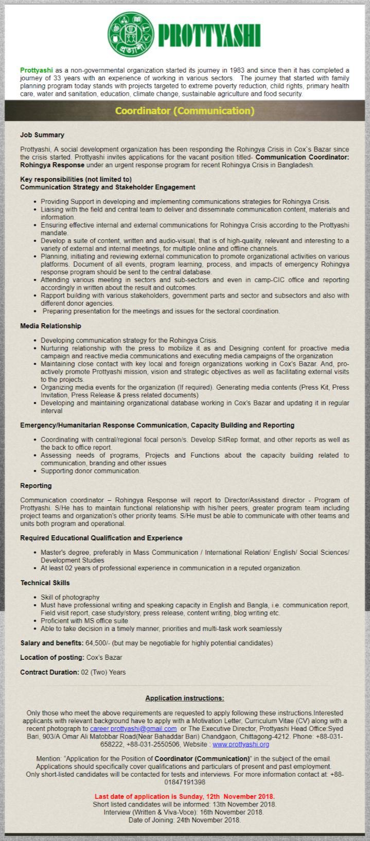See Prottashi NGO Job Circular