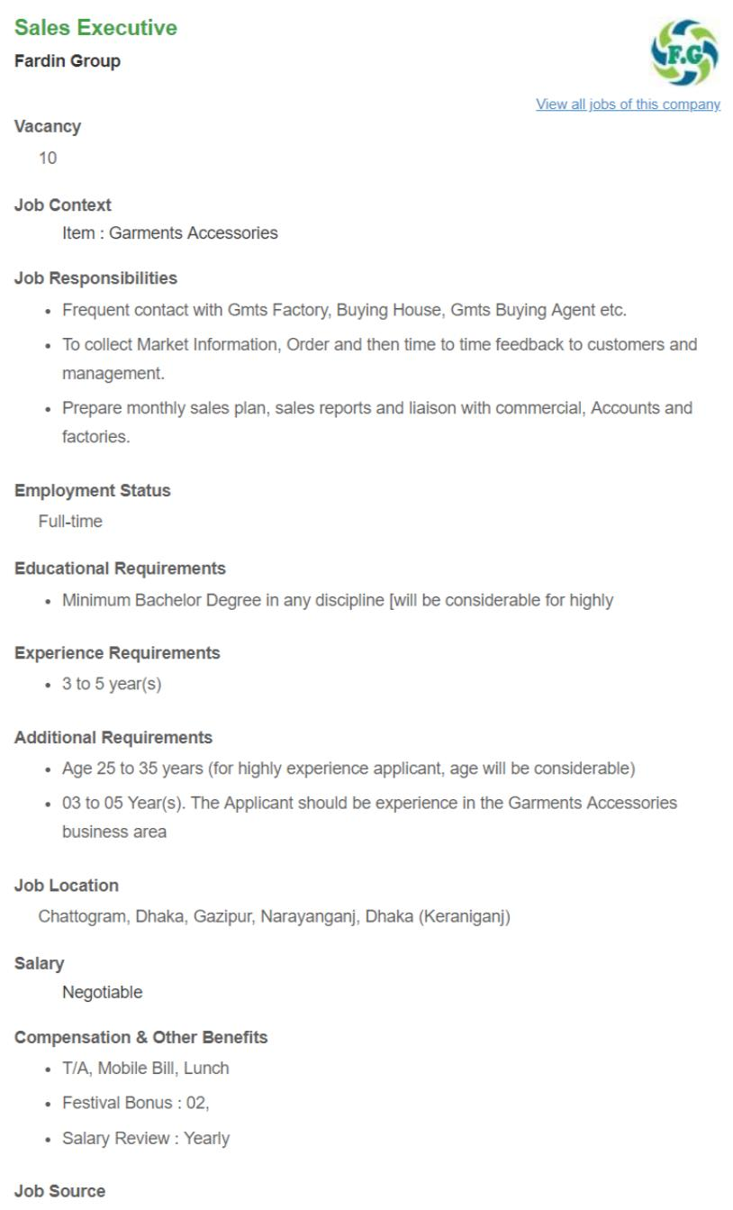 Fardin Group Job Circular