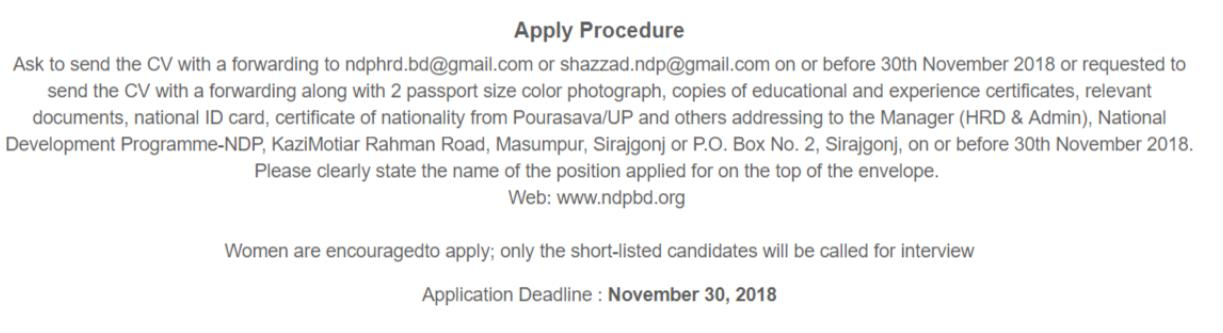 See NDP bd Job Apply
