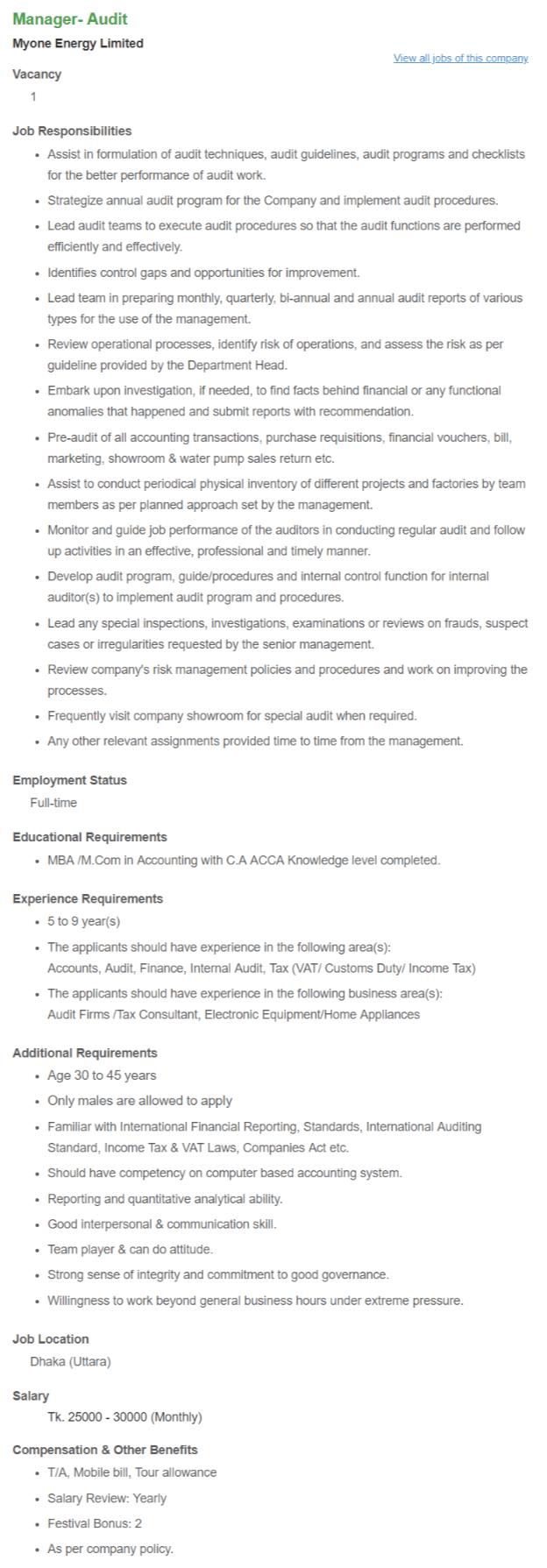 MyOne Energy ltd job circular