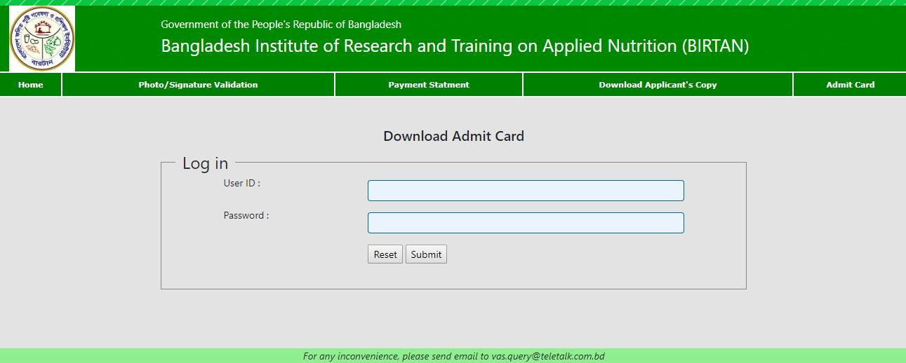 Bangladesh Institute of Research and Training on Applied Nutrition (BIRTAN)