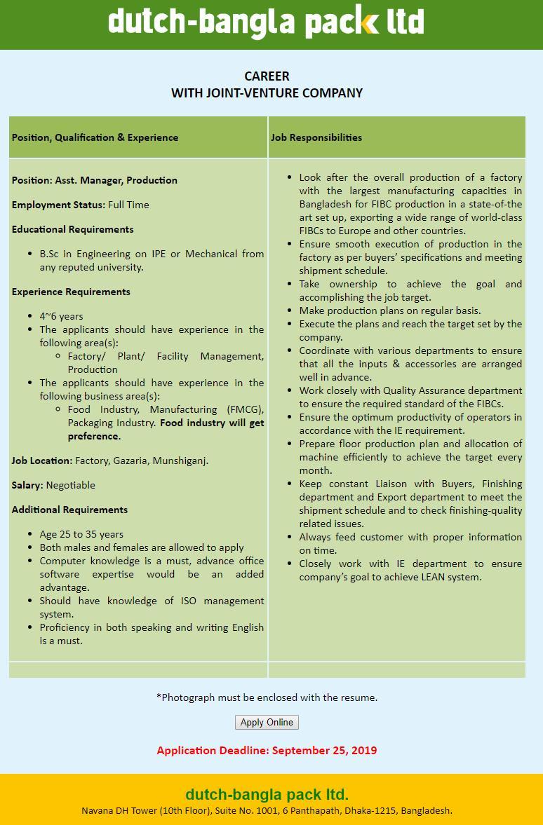 Dutch-Bangla Pack Ltd Job Circular Apply, Easy Apply