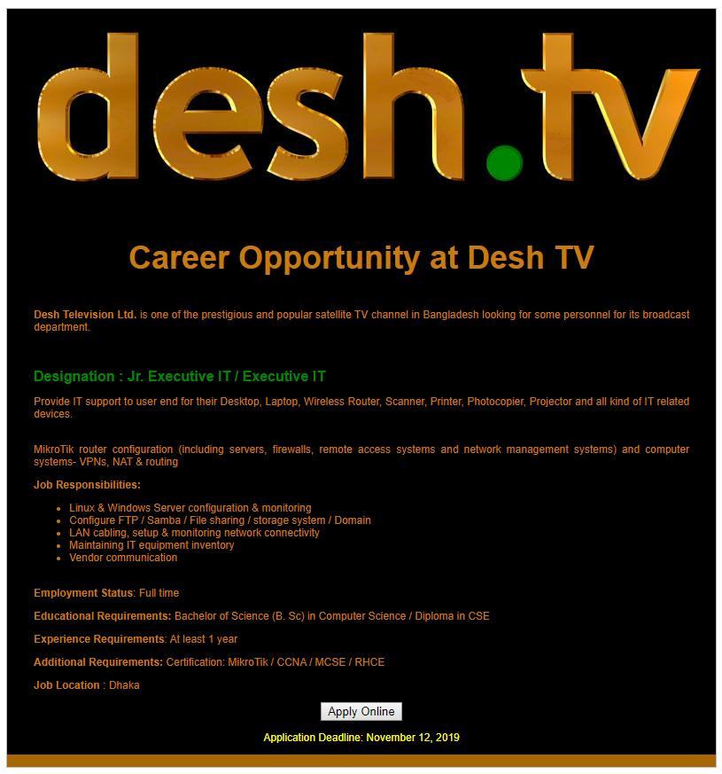 Desh Television Ltd Job Circular