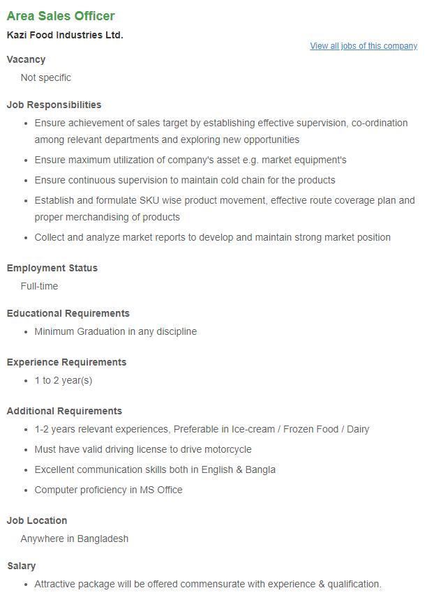 Kazi Food Industries job circular 2019