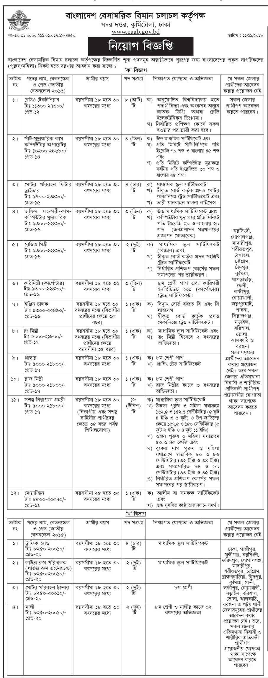 CAAB Job Circular Apply 2019 - caab.gov.bd