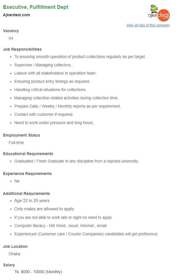Ajkerdeal com Job Circular 2019