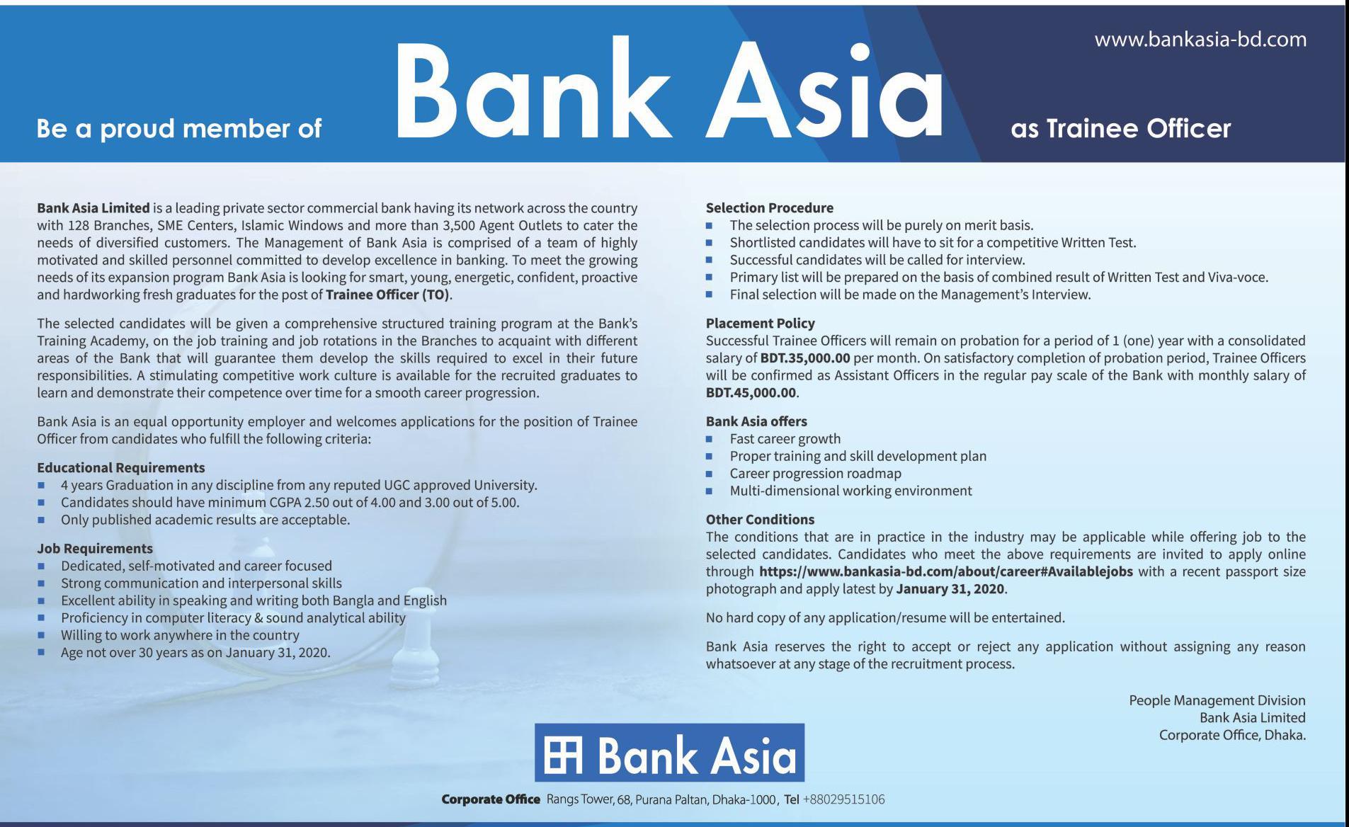 Bank Asia Limited Job Circular Apply