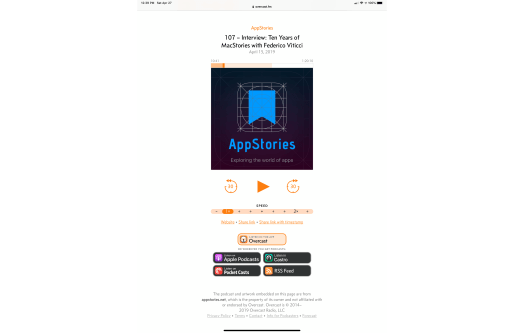 Overcast's updated clip landing pages include links to Apple Podcasts, Castro, Pocket Casts, and the show's RSS feed.