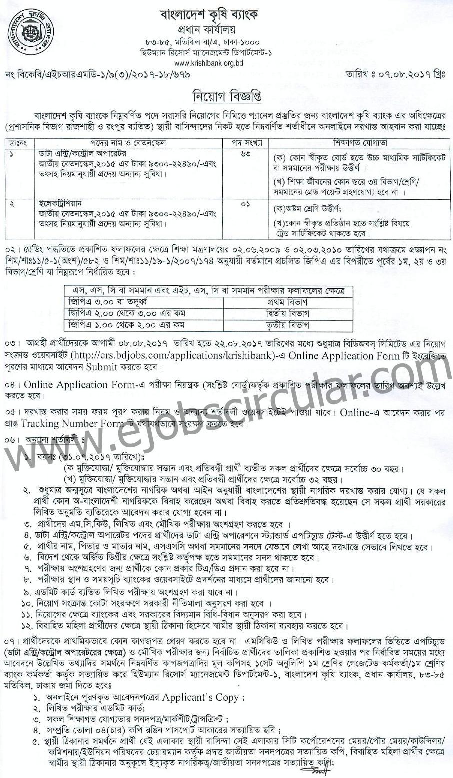 Bangladesh Krishi Bank Jobs Circular