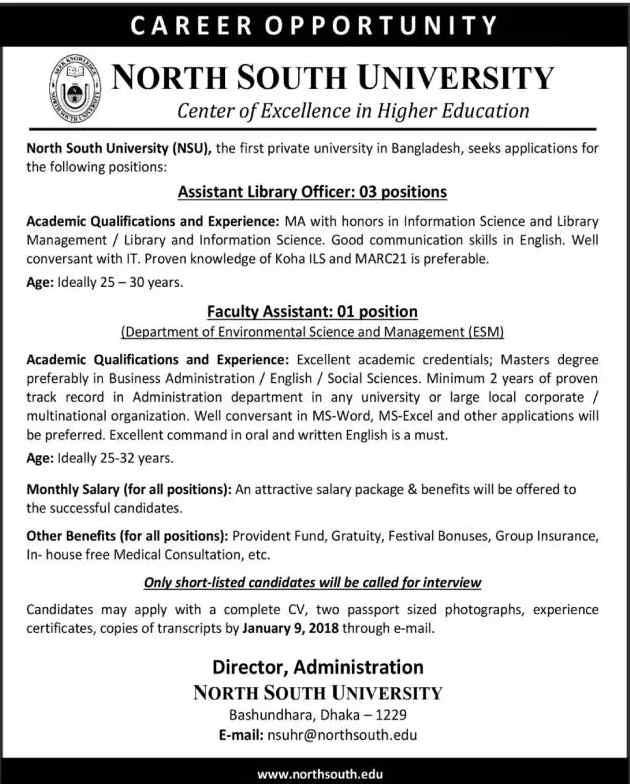 North South University - NSU Job Circular