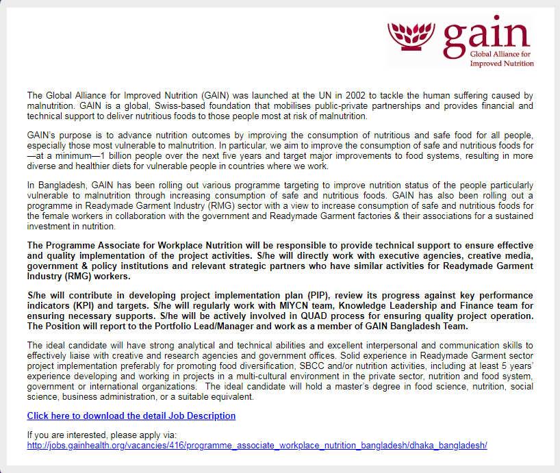The Global Alliance for Improved Nutrition GAIN Jobs Circular –  www.gainhealth.org 1