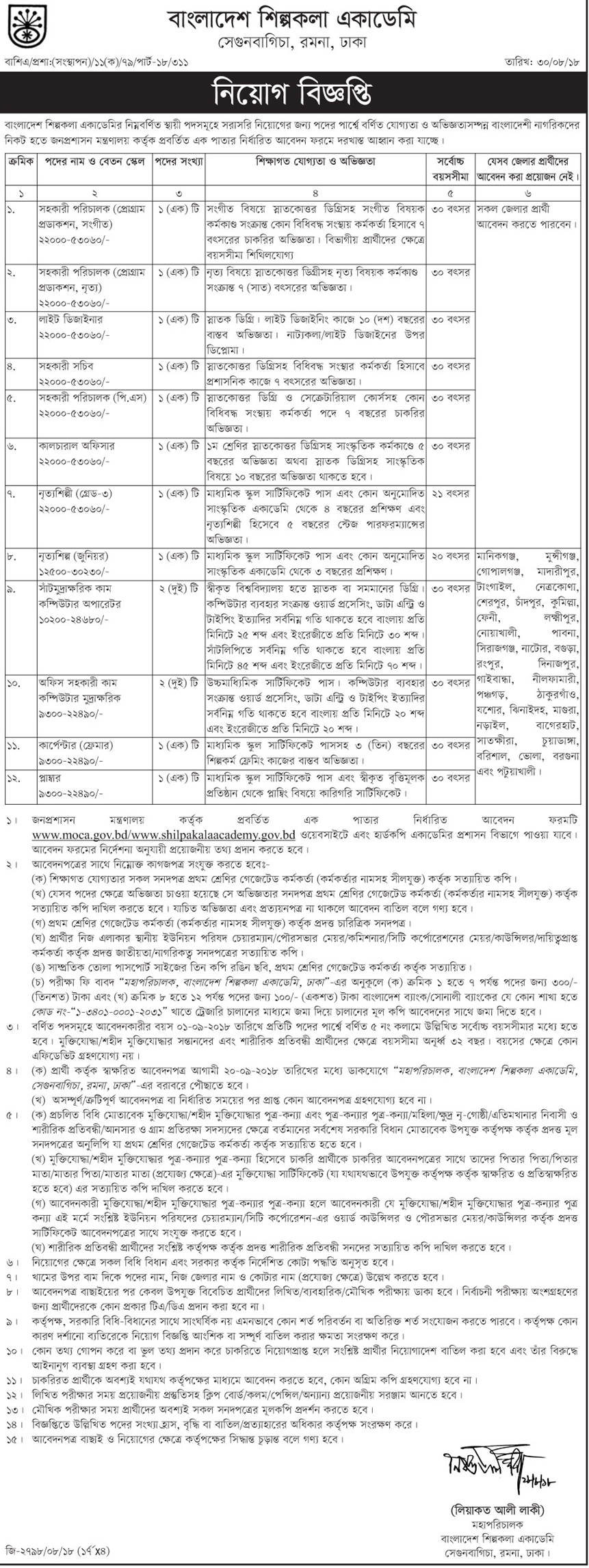 Bangladesh Shilpakala Academy job circular & Apply Instruction -2018