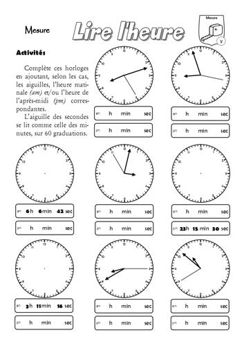 Fiche-mémoire et d'entraînement sur la lecture de l'heure