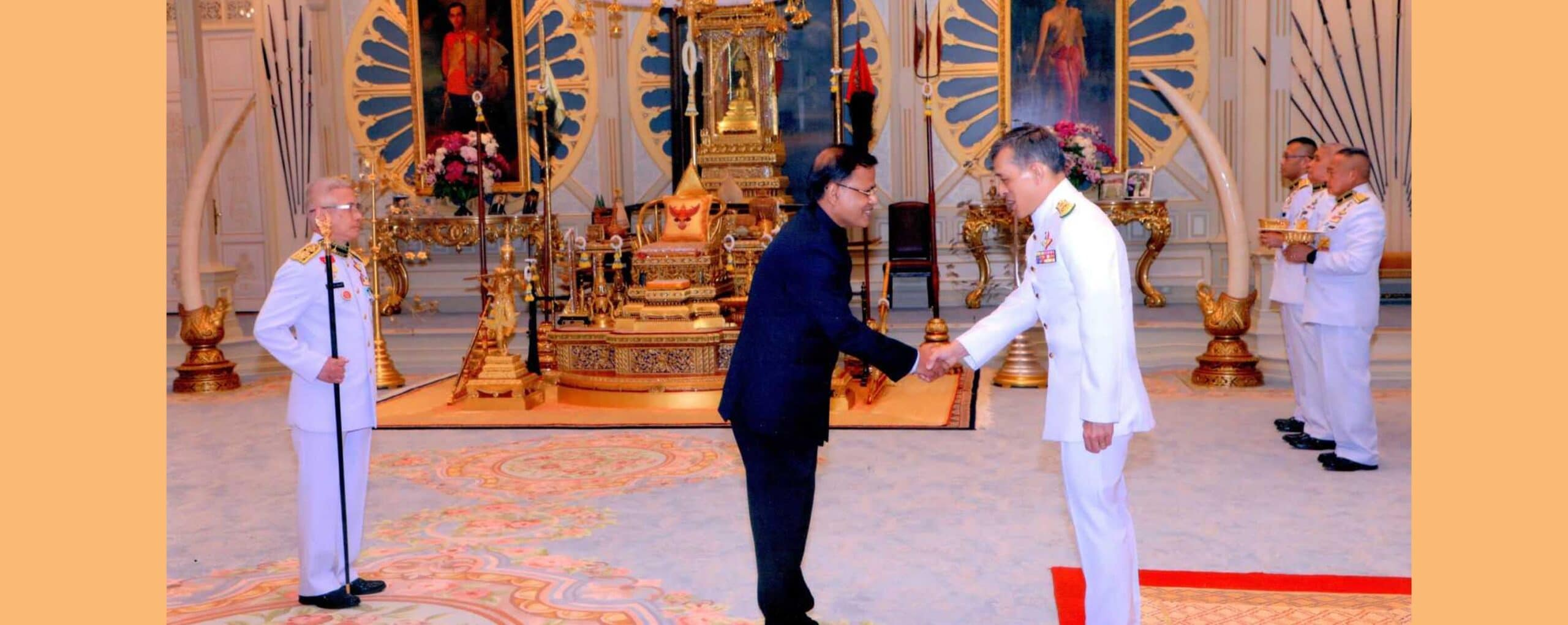 Ambasador of Bangladesh to the kingdom of Thailand H.E. Mr. Md. Nazmul Quaunine is presenting his Credential to His Majesty King of Thailand Maha Vajiralongkorn